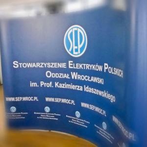 Stojak na ulotki stowarzyszenie elektrykow polskich